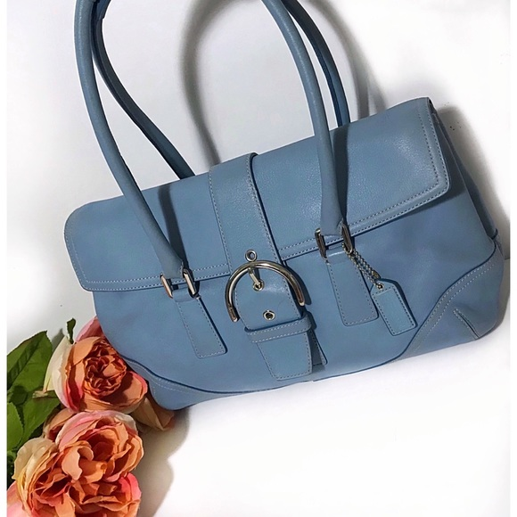 Coach Handbags - Coach Blue Soho Hampton Flap Satchel Bag 9550
